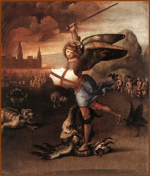 San Michele e il drago - Raffaello Sanzio - Dipinto del 1505 circa.