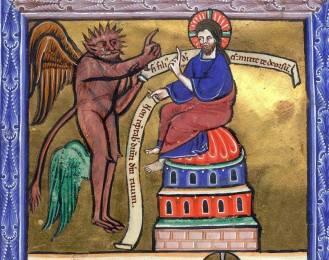 La tentazione di Cristo, immagine tratta da un salterio illustrato (British Library - 1240).